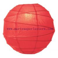 Wholesale Poppy Red Paper Lantern For Parties , Round Decorative Lanterns For Wedding Centerpieces from china suppliers