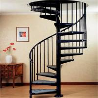 Buy cheap indoor / outdoor powder coated black metal spiral staircase price / prefab stairs from wholesalers