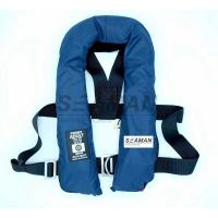 Wholesale SOLAS 275N Navy Blue Inflatable Life Jacket Double Air Chamber 60G Cylinder With Harness D Ring from china suppliers