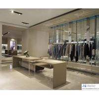 Wholesale Pure fashion space atmosphere women's clothing store by art leisurely fashion display wardrobe and curved counters from china suppliers