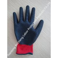Wholesale Red Polyester Latex Coated Gloves Black Crinkle With Abrasion Resistance from china suppliers