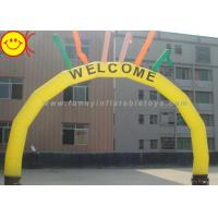Wholesale PVC / Nylon Yellow Welcome Inflatable Arch With Six Colorful Sky Air Dancers from china suppliers