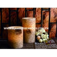 Wholesale Birch Finish Straight Edge Flameless LED Pillar Candles / Battery Operated LED Candle from china suppliers