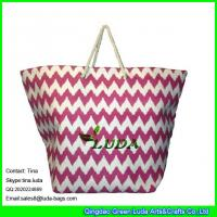 Wholesale LUDA rope handles summer straw handbags big size beach paper straw bags from china suppliers