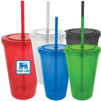 Wholesale Double wall plastic tumbler with straw from china suppliers