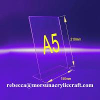 Wholesale Desktop A5 Transparent Acrylic Menu Stand / PMMA Table Tent from china suppliers