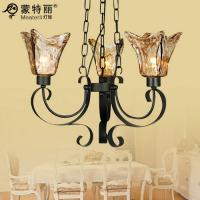 Wholesale Vintage Amber Wrought Iron Ceiling Lights with Glass , Hanging Chain Lamp from china suppliers