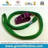 Wholesale Green Lanyard Whistle Flat Polyester Lanyard Holder w/Wine Red Plastic Sports Whistle from china suppliers