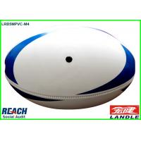 Wholesale Customised Machine Stitched Leather Rugby Ball White and Blue from china suppliers