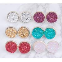 Wholesale Multicolored Gold Druzy Stud Earrings Round Shaped Gold Plated Solar Quartz Dyed from china suppliers