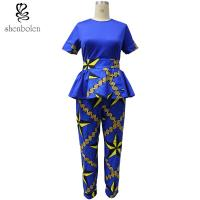 Wholesale Ankara Fabric African Print Pants With Kitenge Style Short Sleeve Tops from china suppliers
