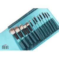 Wholesale Ket Brush Set Nylon hair Makeup Brush Cylinder With Black Aluminum And Bule Wooden Handle from china suppliers