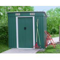 Wholesale Prefab 6x4 Green Pent Metal Tool Shed With Double Swing Door / Galvanized Steel Frame from china suppliers