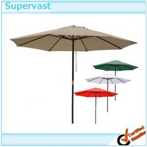 Wholesale 9 Foot Push up Wood Patio Umbrella , 2.7M Teak Wood Market Umbrellas from china suppliers