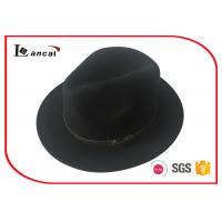 Wholesale 57cm PU Leather Trim Wool Felt Hat , Black Felt Floppy Hat For Women from china suppliers
