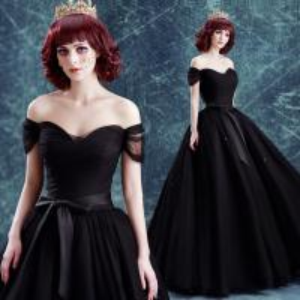China Annual Meeting Host Dress Black Elegant Evening Dresses TSJY043 on sale