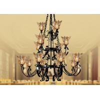 Wholesale Large Black Hotel Modern Glass Chandeliers 15 Light , Iron and Glass Traditional Pendant Chandelier from china suppliers