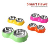 Wholesale Smartpaws Cute melamine double pet bowl for dogs and cats New pet products from china suppliers