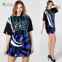 Wholesale Breathable Sparkle Bling Sequin T Shirt Dress With Numbers Anti - Shrink from china suppliers
