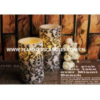 Wholesale Home Decoration Flameless LED Pillar Candles With White Floral Pattern 7.5 x 15cm from china suppliers
