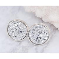 Wholesale Natural Silver White Druzy Stud Earrings 6mm 8mm Real Sterling Silver Plated  For Women from china suppliers