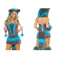 Wholesale Cheshire Magic Cat Fancy Party Adult Costumes , Gray Blue Furry Ladies Halloween Costumes from china suppliers