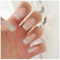 Wholesale Pink Glitter Romatic French Manicure Fake Nails Artistic Charming For Fingers from china suppliers