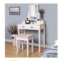 Buy cheap White Bedroom Mirrored Dresser Wooden Dressing Table with Mirror and Stool from wholesalers