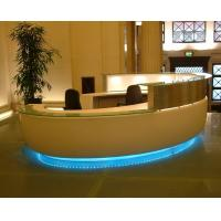 Wholesale Bespoke Millwork reception counter in Pure white painting by tempered glass top with LED inside lighting from china suppliers