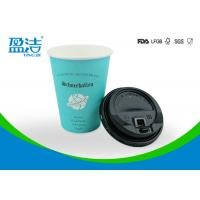 China Logo Printed 400ml Cold Drink Paper Cups With Black Lids Preventing Leakage Effectively for sale