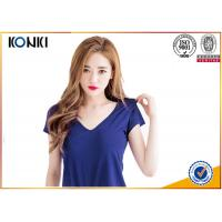 Wholesale Deep v neck women blank T shirts ,cotton sex t-shirt  blue color from china suppliers