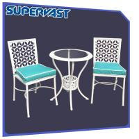 Wholesale Outdoor Living Steel Frame White Bistro Sets Patio Furniture Bistro Table 2 Chairs from china suppliers