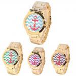 Wholesale Anchor Dial Women Quartz Wrist Watch Platinum Geneva Gold Watch from china suppliers