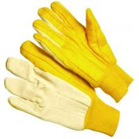 Wholesale Golden Chore Palm Knit Wrist Cotton Work Glove with 3 Finger Canvas Back CT104 from china suppliers