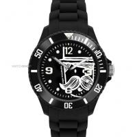 Wholesale Rotating Bazel Silicone Wristband Watches , Custom Printing Mustache Brand from china suppliers