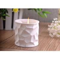 Wholesale White Tealight Ceramic Candle Holder Embossment 290ml Large Capacity from china suppliers