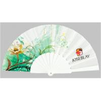 Wholesale Custom Folding Hand Fans with plastic ribs and full color printed fabric ,  size 23cm from china suppliers