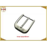 Wholesale Customized Silver Plated Zinc Alloy Metal Pin Belt Buckle With Emboss Logo from china suppliers