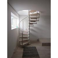 Quality Spiral Staircase Stainless Steel Balustrade Woonden Treads Stairs for sale