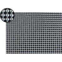 A piece of metallic fabric cloth with 4mm round shape and bright silver color.