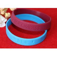 Wholesale Lettering Debossed Silicone Wristbands , Rubber Promotional Bracelets Smooth Edge from china suppliers