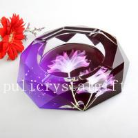 Wholesale Mysterious gift, The Chinese golden dragon Octagonal100mm crystal ashtray, home supply from china suppliers