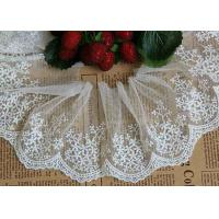 China Ivory Embroidery Nylon Lace Trim With Snowflake Pattern For Bridal Veil on sale