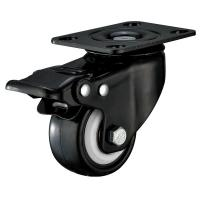 Wholesale Small Furniture PU Caster Wheel With Swivel Plate Total Locking Black Bracket from china suppliers
