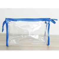 Transparent PVC Cosmetic Bag with Zipper closure , Clear Vinyl Make-Up Pouches for sale