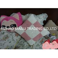 Quality Pink / White Square Milk Cotton Crochet Cushion Cover Hollow Out Knit Pillow Covers for sale
