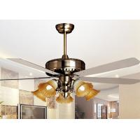 Wholesale 500W Iron , Glass 5 Leaf Modern Ceiling Fan Light Fixtures 5 Light 56'' , Coffee or White from china suppliers