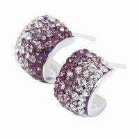 Wholesale Silver Stud Earring, Decorated with Crystal, Handicraft Technology, Available in Different Colors from china suppliers