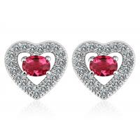Wholesale Red Crystal Sterling Silver Earring , Heart Shaped Diamond Stud Earrings from china suppliers