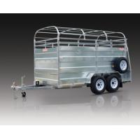 Wholesale Double Axle Steel Cattle Crate Trailer / Stock Crate Trailer With Hydraulic Brake from china suppliers